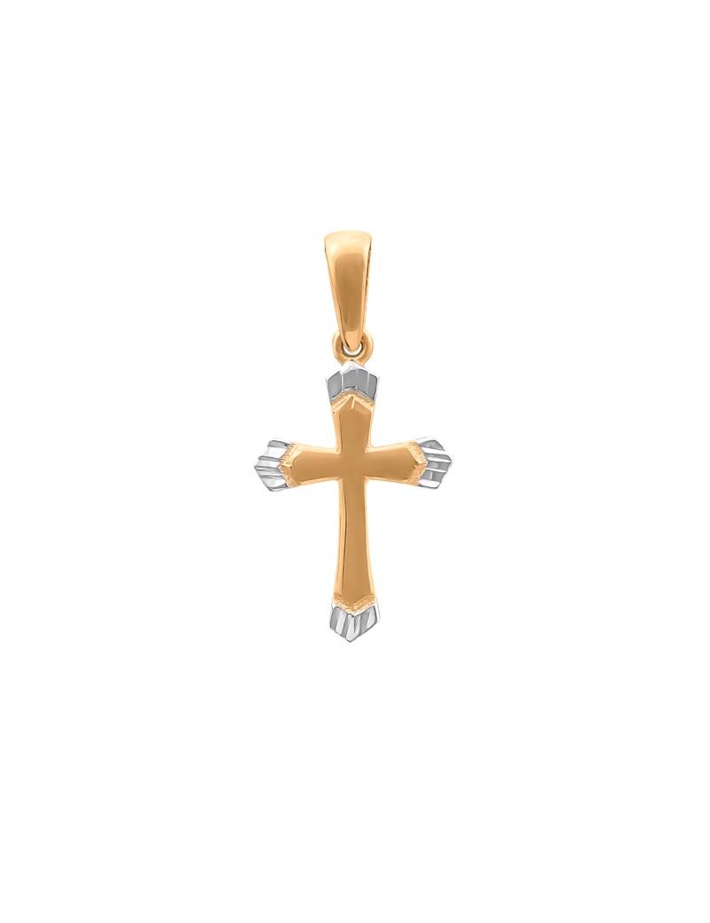 Złoty MODNY Krzyżyk pr585 z Białym Złotem PREZENT