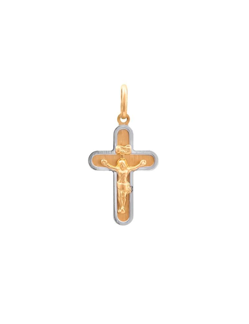 Złoty Oryginalny Krzyżyk Z Białym Złotem