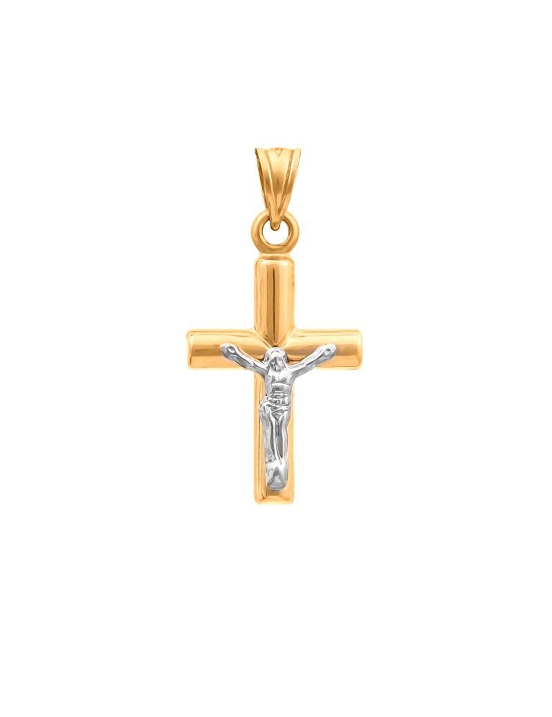 Złoty KLASYCZNY Krzyżyk pr585 z Białym Złotem