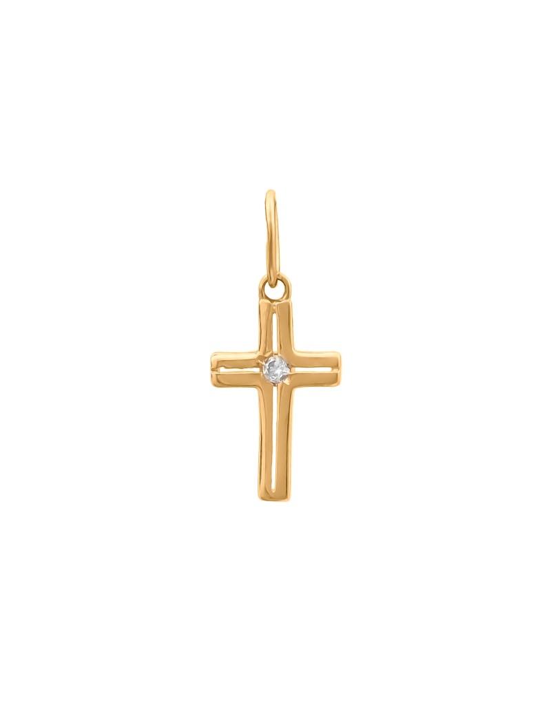 Złoty Krzyżyk pr585 KLASYK z CYRKONIĄ na PREZENT