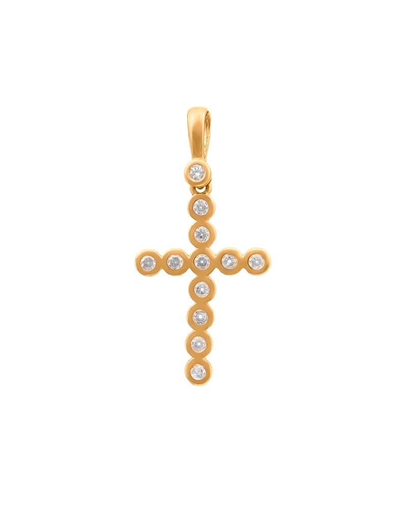 Złoty ORYGINALNY Krzyżyk pr585 z CYRKONIAMI