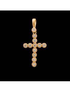 Złoty Oryginalny Krzyżyk Z Cyrkoniami