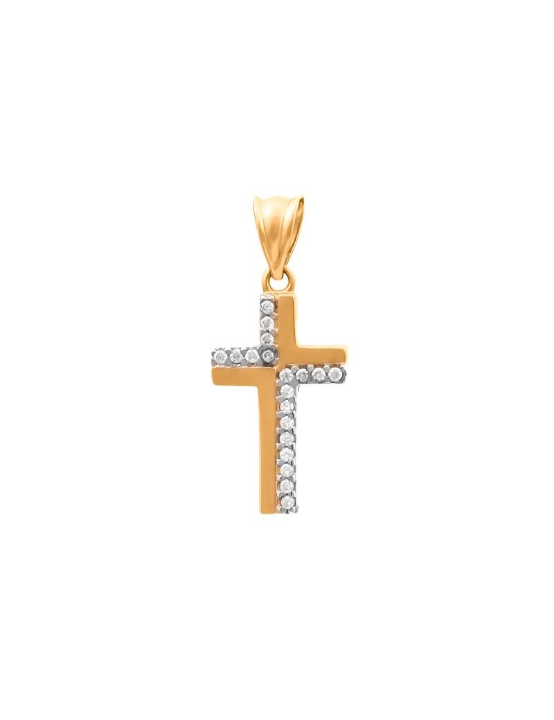 Złoty ORYGINALNY Krzyżyk pr585 Cyrkonie OKAZJA