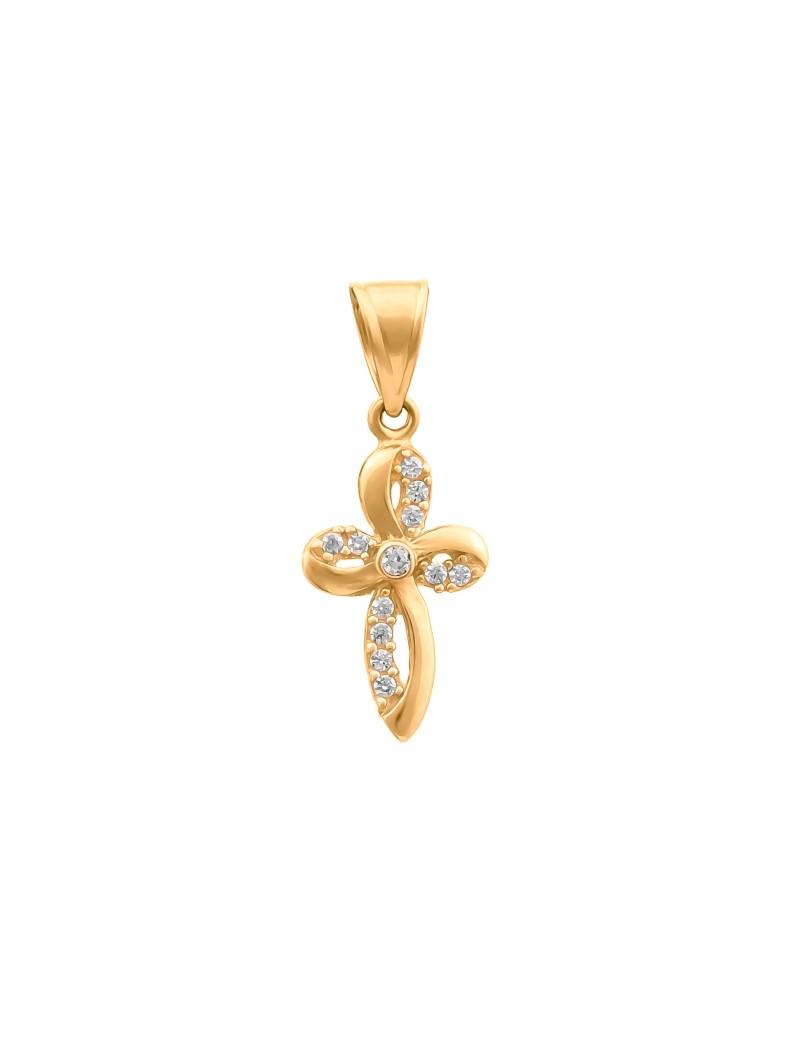 Złoty ORYGINALNY OWALNY Krzyżyk pr585 Cyrkonia