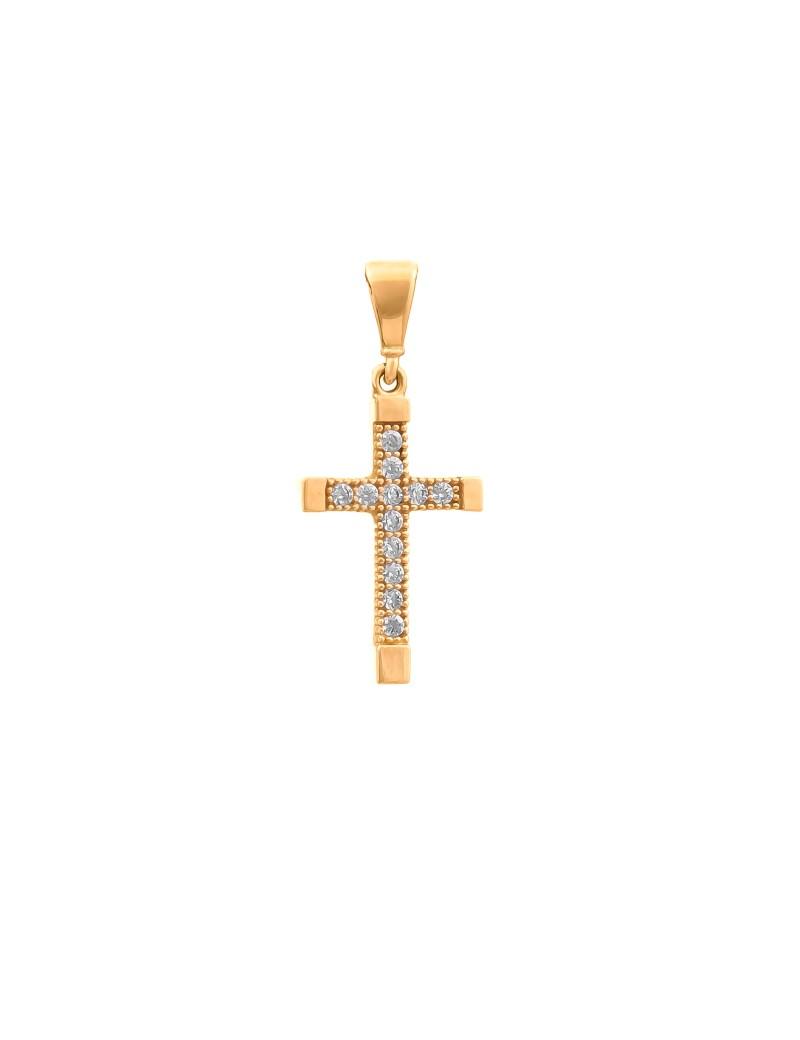 Złoty Klasyczny Krzyżyk Modny Wzór Cyrkonie