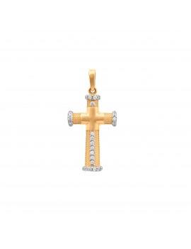 Złoty Oryginalny Krzyżyk Cyrkonie