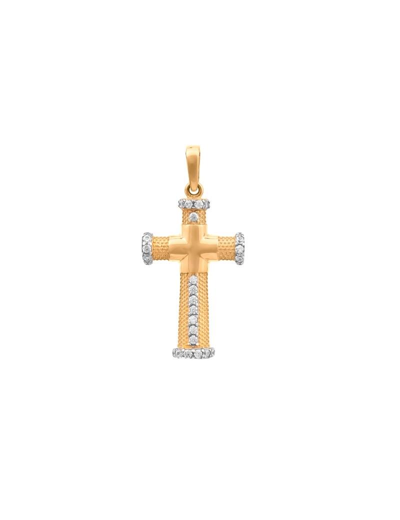 Złoty ORYGINALNY Krzyżyk pr585 Cyrkonie PREZENT