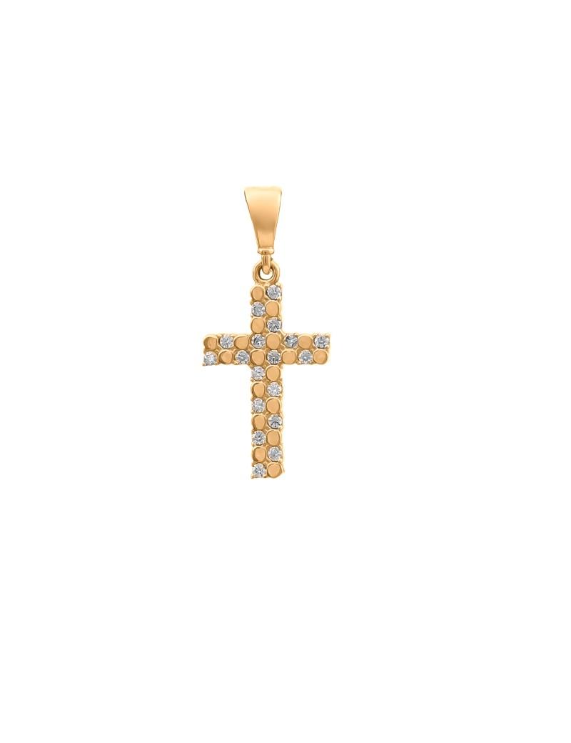 Złoty Krzyżyk pr585 ORYGINALNY MODEL Cyrkonie