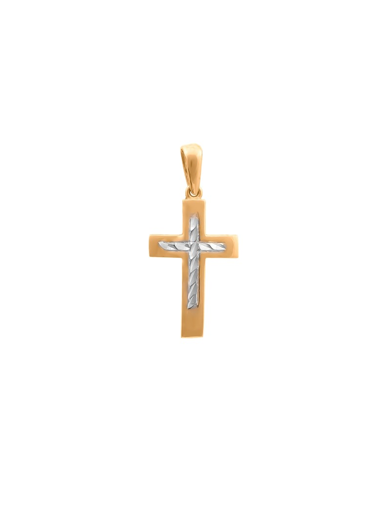 Złoty KLASYCZNY Krzyżyk pr585 BIAŁE ZŁOTO Prezent