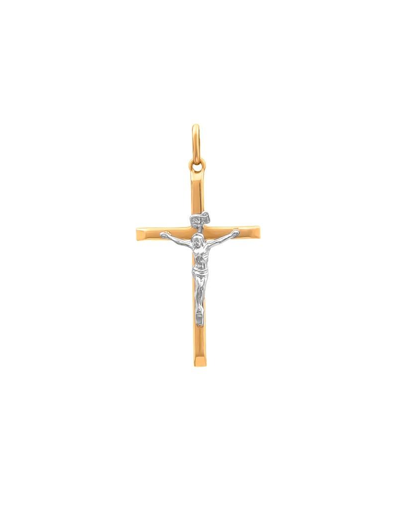 Złoty Krzyżyk Z Białym Złotem Klasyk