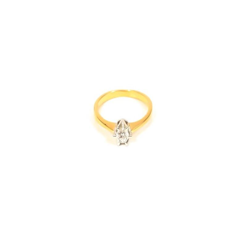 Złoty Pierścionek Zaręczyny Białe Złoto r12