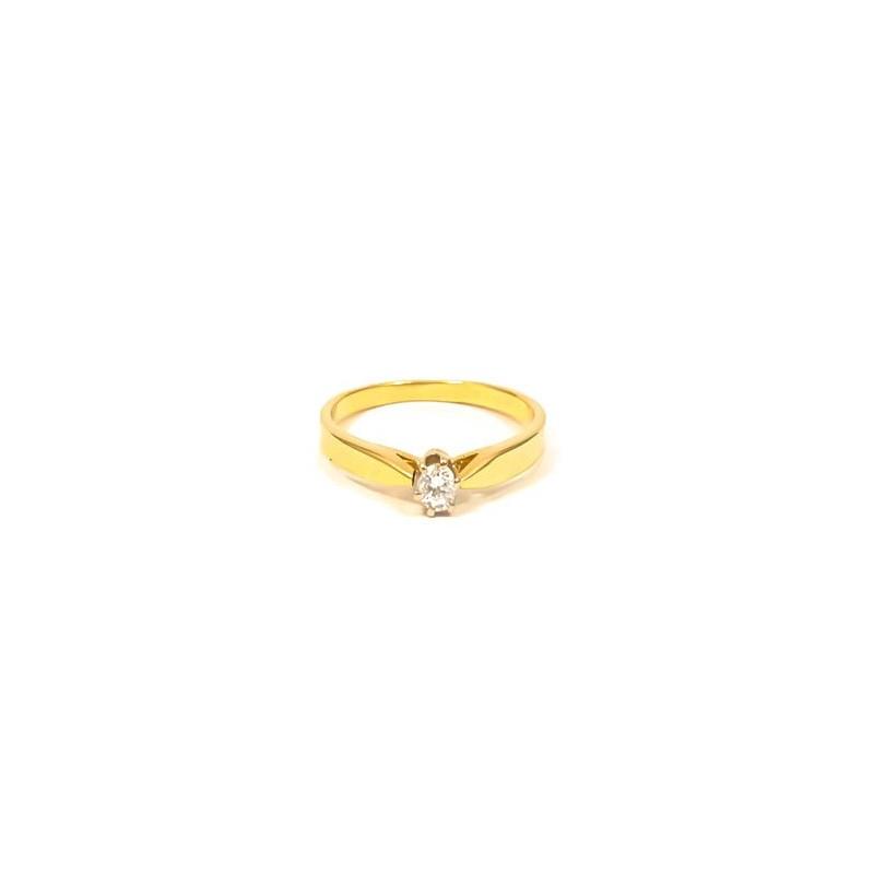Złoty Pierścionek pr585 JEDEN KAMIEŃ na ZARĘCZYNY