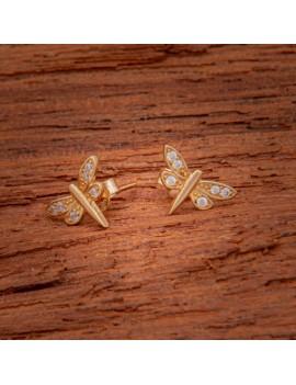 Złote Kolczyki Sztyft pr333 WAŻKA z CYRKONIAMI