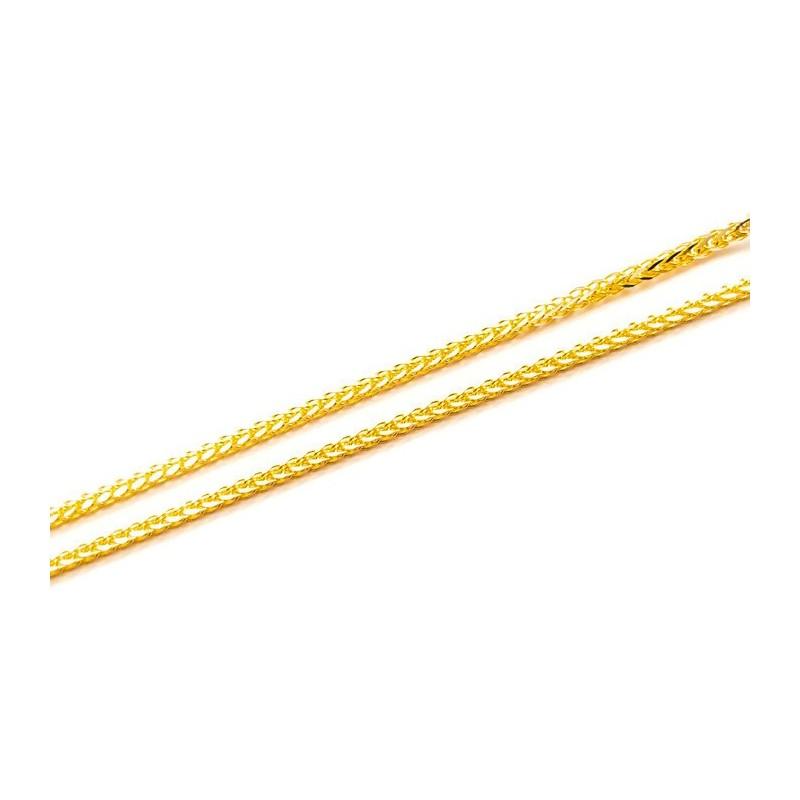 Złoty Łańcuszek 585 LISI OGON z BIAŁYM ZŁOTEM 40cm