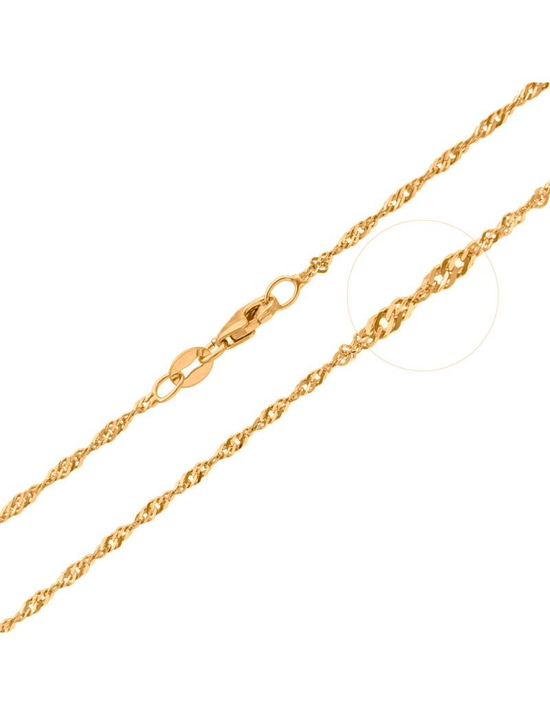 Złoty Łańcuszek pr333 MODNY KRĘCONY SPLOT 45cm