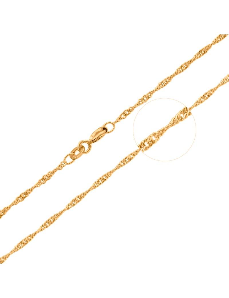 Złoty Łańcuszek pr333 MODNY KRĘCONY SPLOT 42cm