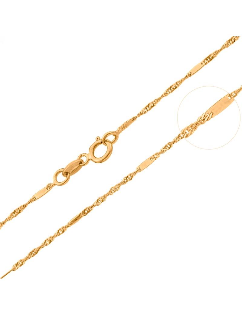 Złoty Łańcuszek 333 KRĘCONY KLASYK Z BLASZKĄ 45cm