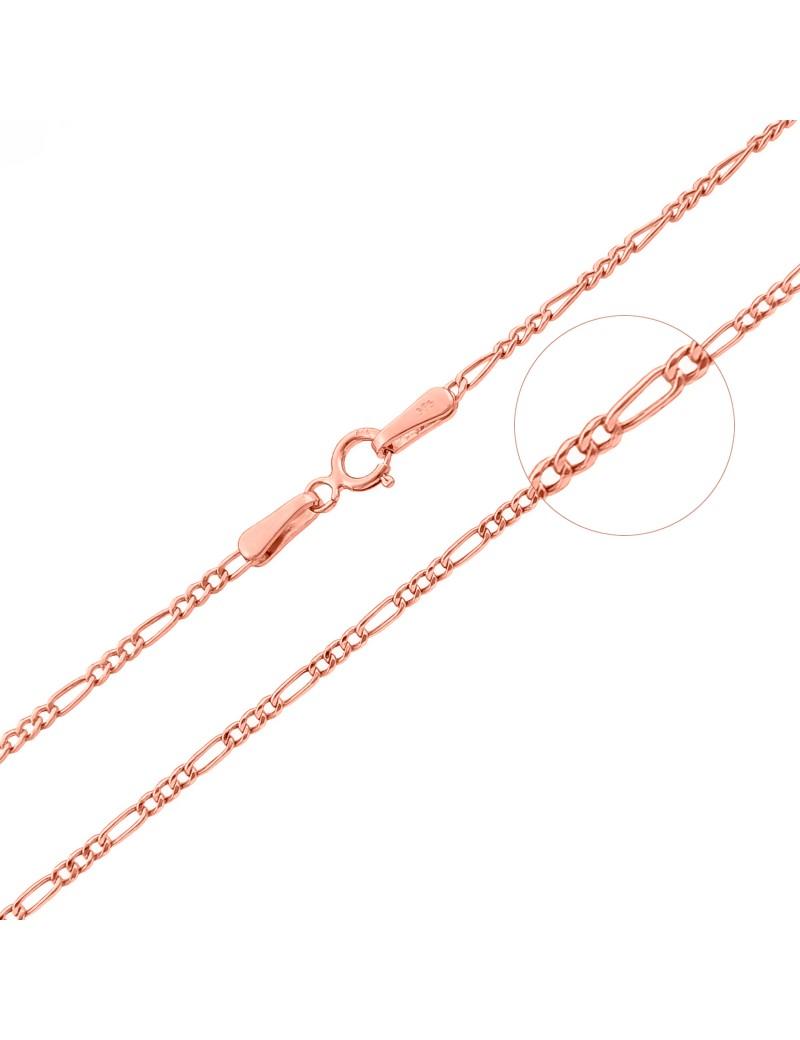 Złoty Łańcuszek 50cm Figaro Różowe Złoto
