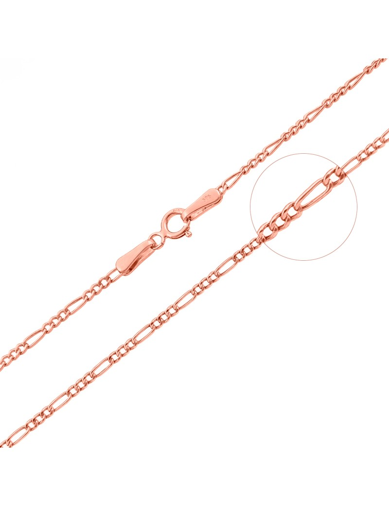Złoty Łańcuszek 45cm Figaro Różowe Złoto