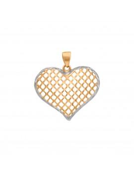 Złoty Wisiorek Duże Ażurowe Serce