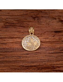 Złoty OKRĄGŁY Wisiorek pr333 TRZY LISTKI