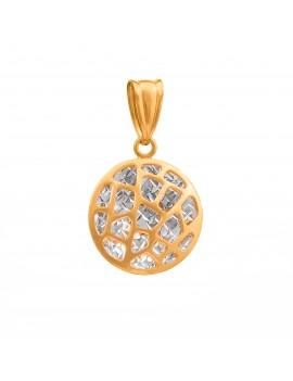 Złoty Okrągły Wisiorek Z Białym Złotem