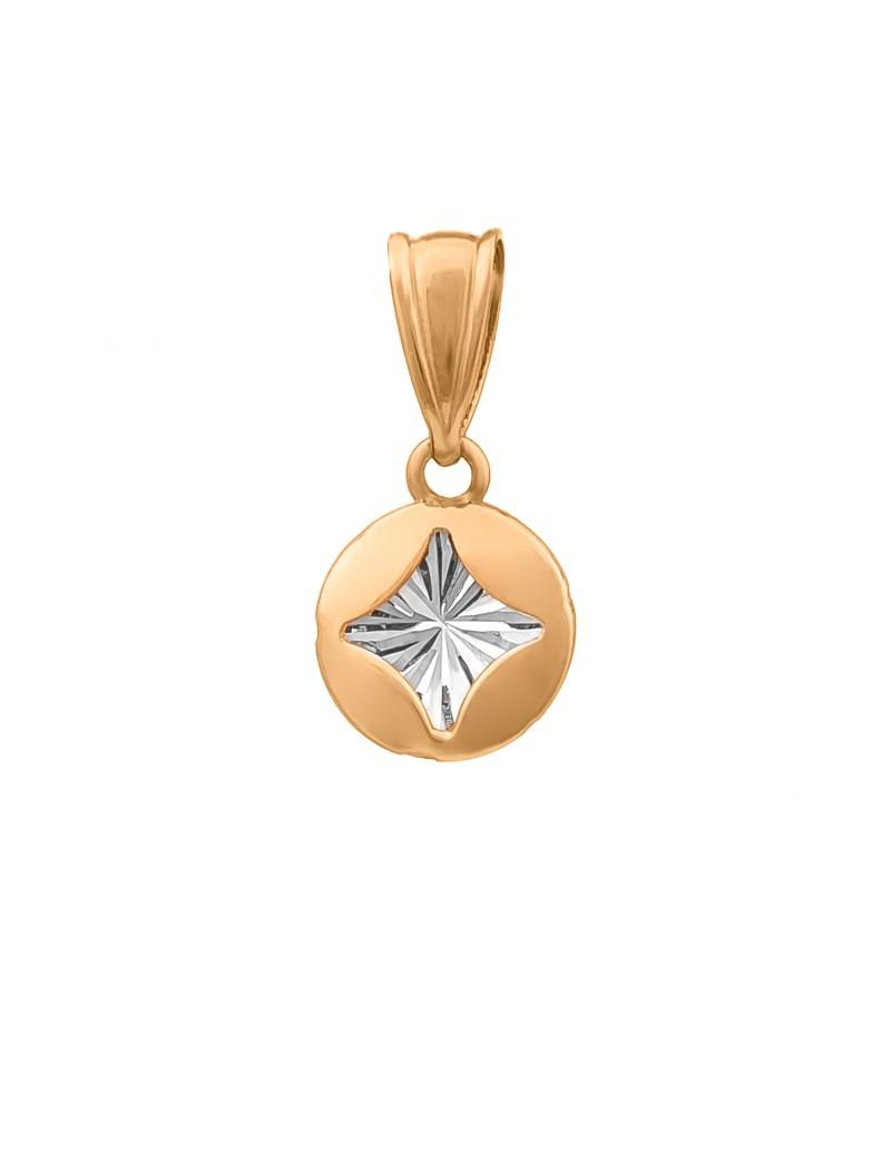 Złoty Okrągły Wisiorek Gwiazdka Białe Złoto
