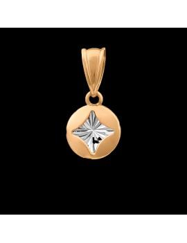 Złoty OKRĄGŁY Wisiorek pr333 Gwiazdka Białe Złoto