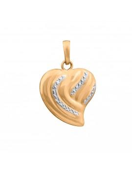 Złoty Dwustronny Wisiorek Serce Białe Złoto