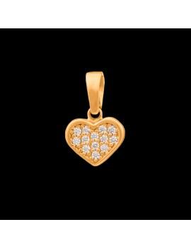 Złoty Wisiorek pr333 KLASYCZNE SERCE z CYRKONIAMI