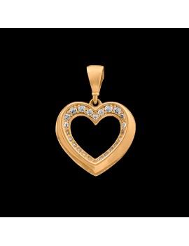 Złoty Wisiorek Klasyczne Serce Cyrkonie