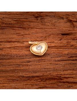 Złoty Wisiorek Modne Serce Z Cyrkonią
