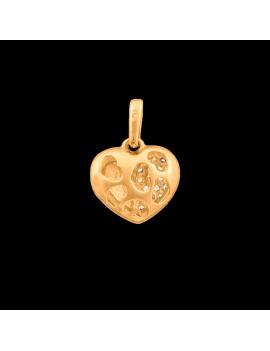 Złoty Wisiorek pr585 MODNE SERCE z CYRKONIAMI
