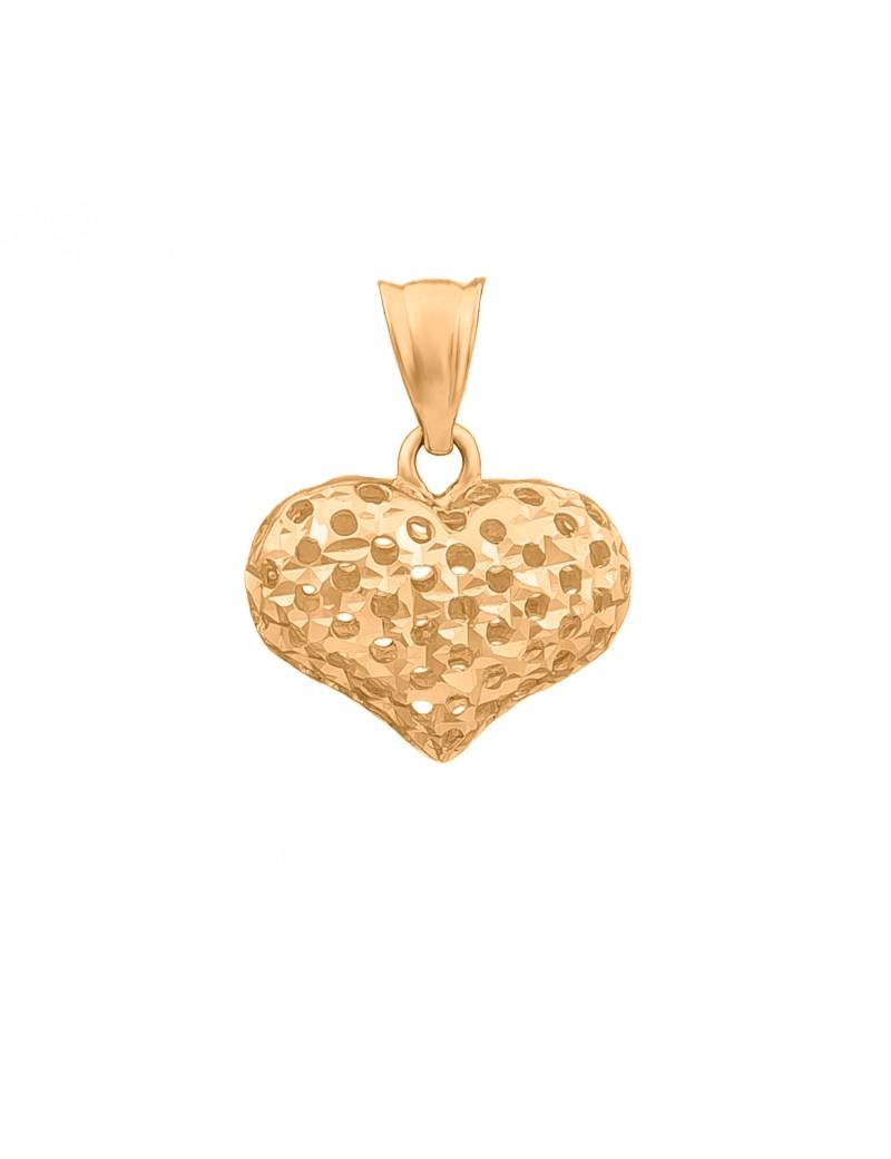Złoty Dwustronny Wisiorek Ażurowe Serce