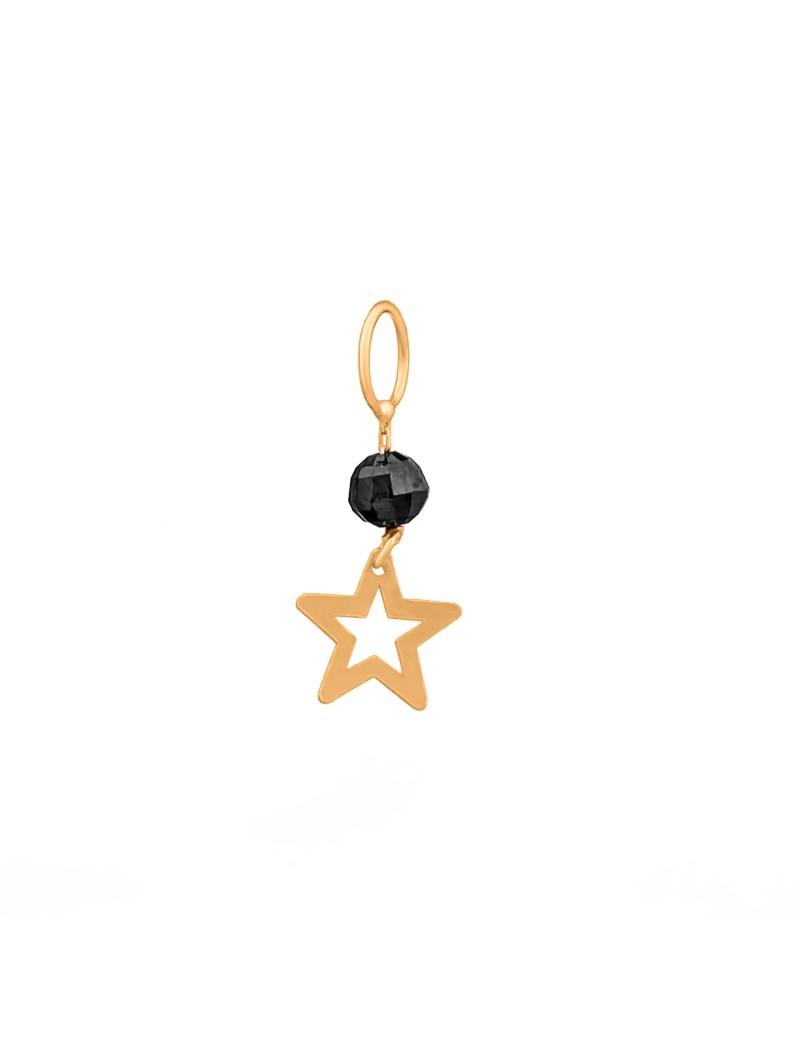 Złoty Wisiorek Gwiazdka Czarna Cyrkonia