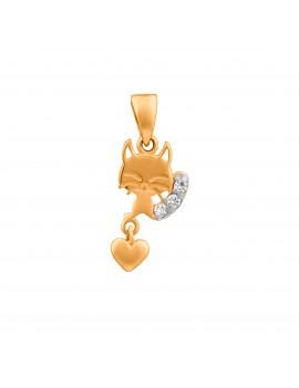 Złoty Wisiorek Kotek Serce