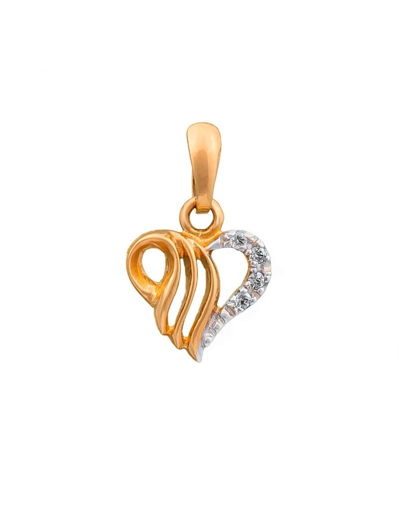 Złoty Wisiorek Serce Białe Złoto Grawer