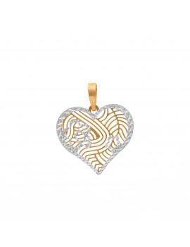 Złoty Wisiorek Kwiat Serce...