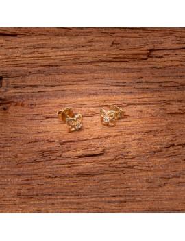 Złote Kolczyki Sztyfty Kwiat Cyrkonia