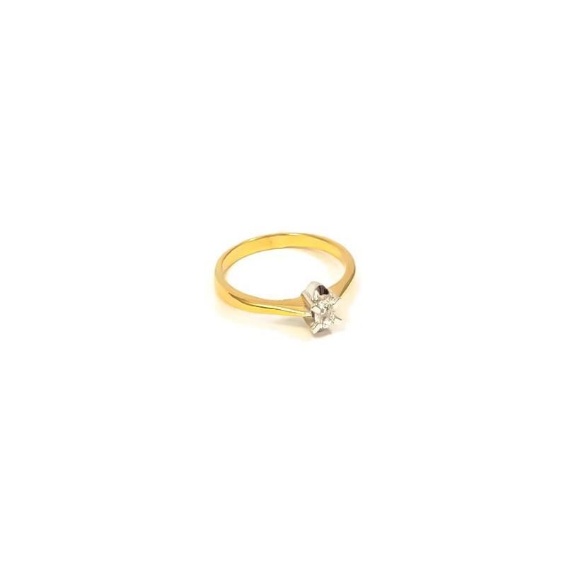 Złoty Pierścionek pr585 CYRKONIA ZARĘCZYNY r11
