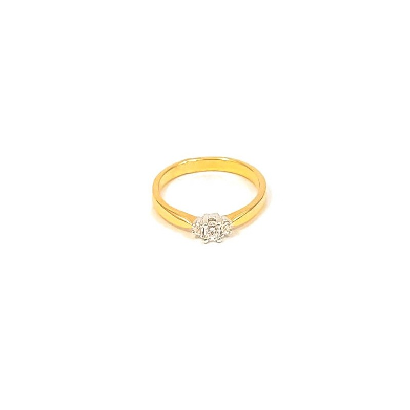 Złoty Subtelny Pierścionek na Zaręczyny r11