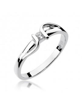 Złoty Pierścionek Zaręczynowy Z Brylantem Białe Złoto