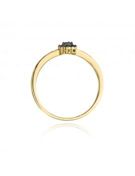 Złoty Pierścionek Zaręczynowy Czarne Brylanty