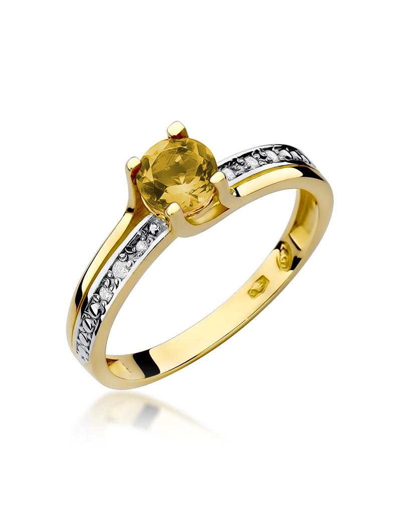 Złoty Pierścionek Cytryn Brylanty