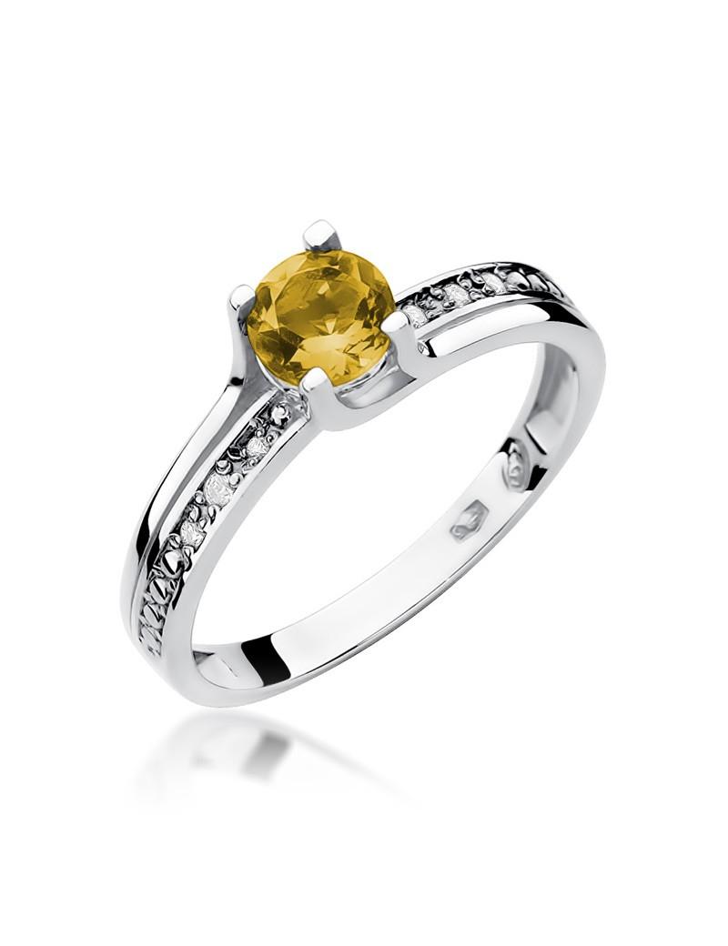 Złoty Pierścionek Cytryn Brylanty Białe Złoto
