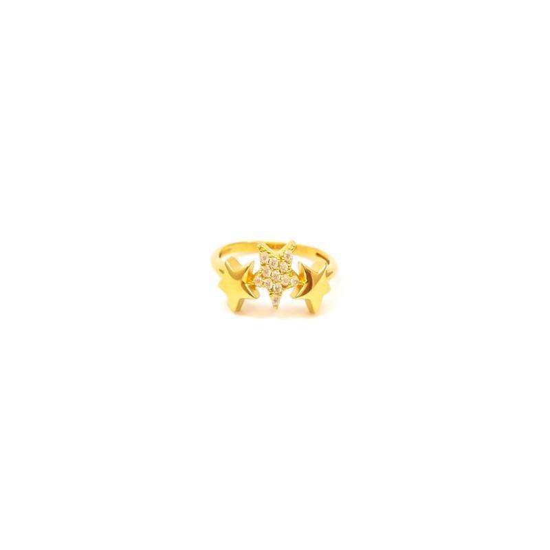 Złoty Pierścionek pr585 TRZY GWIAZDY Cyrkonie