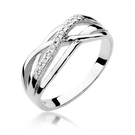 Anello di fidanzamento da donna in oro bianco 14 k 14 k con diamanti naturali R157B