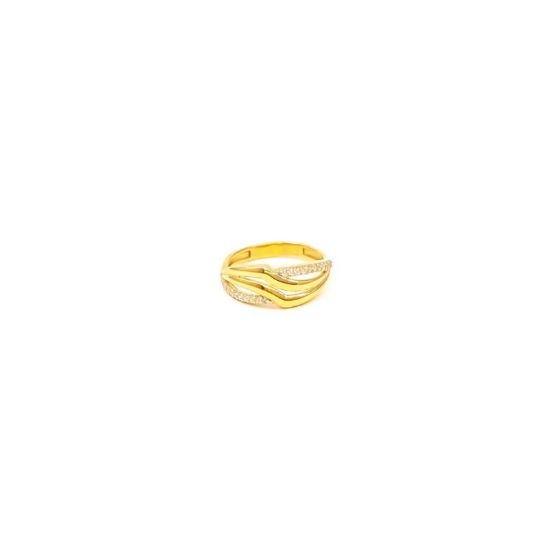 Złoty Pierścionek pr585 MODNY PŁASKI z CYRKONIAMI