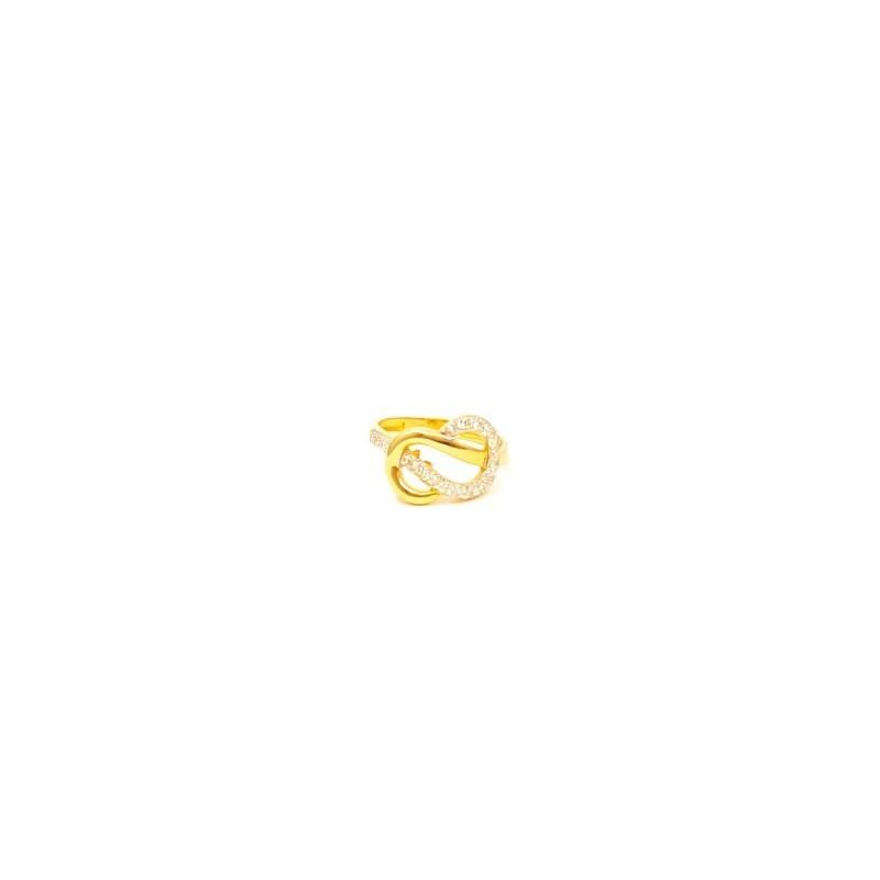 Złoty Pierścionek pr585 NOWY MODNY MODEL CYRKONIE