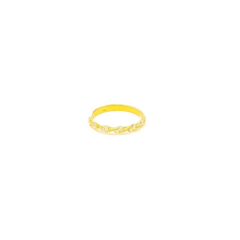 Złoty Pierścionek pr585 WĄSKA OBRĄCZKA CYRKONIE